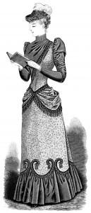 OldDesignShop_VictorianLadyReading1891BW