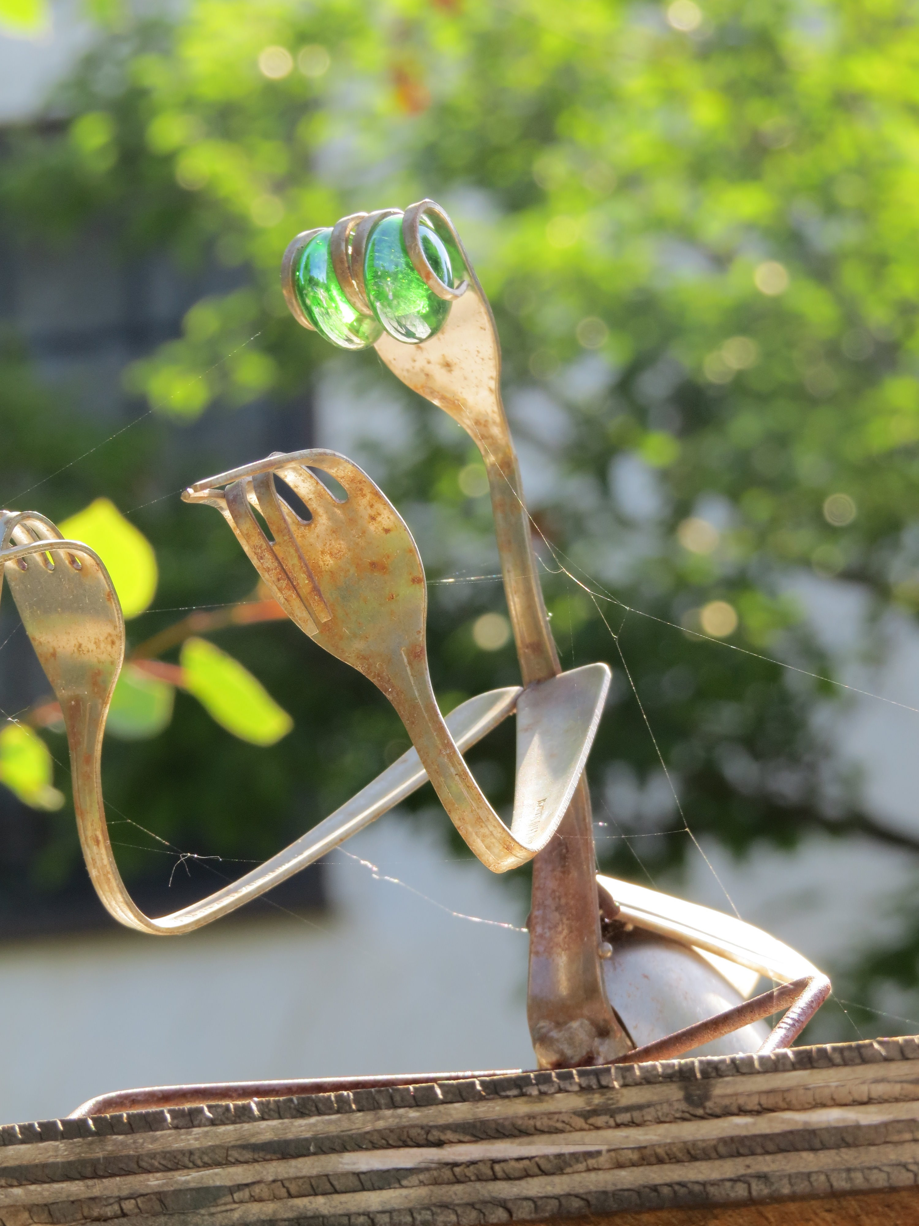 Praying Mantis Made of Forks on Little Free Library - Minnesota